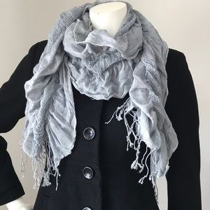Charming Charlie Silver & Gray Ruffle Fringe Scarf